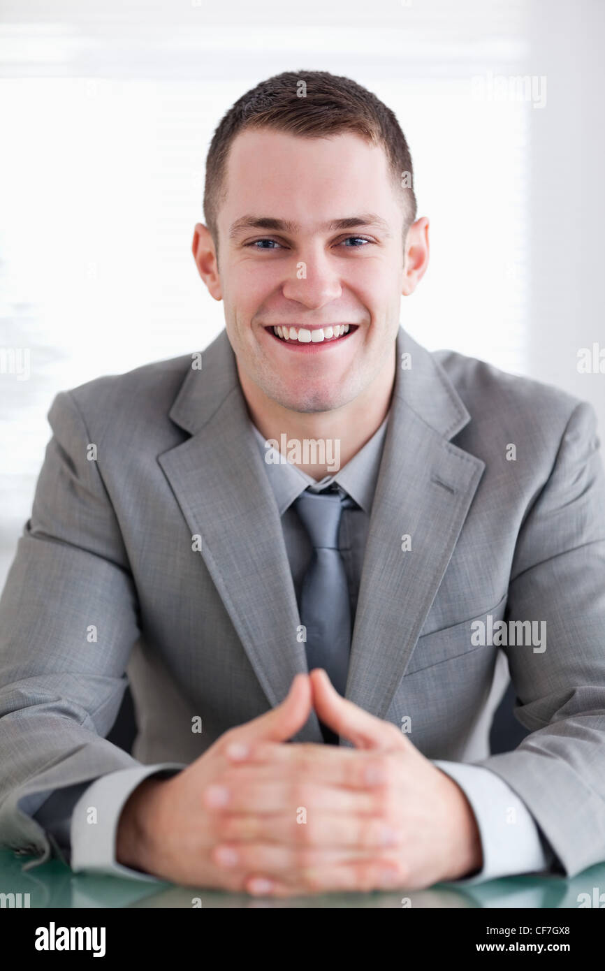 Close up of businessman who got good news - Stock Image