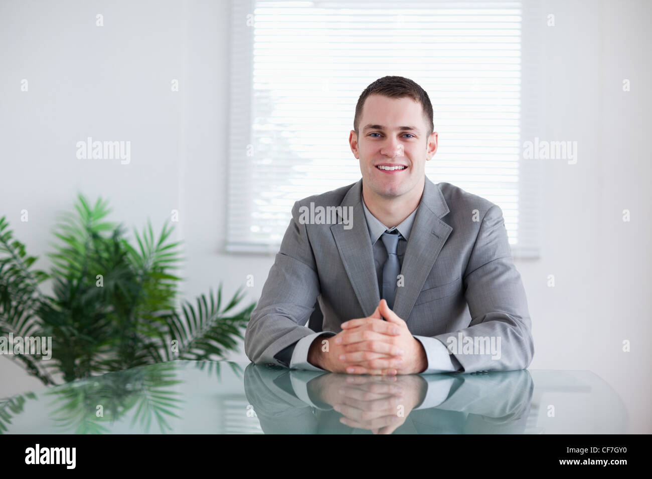 Businessman in a successful negotiation - Stock Image