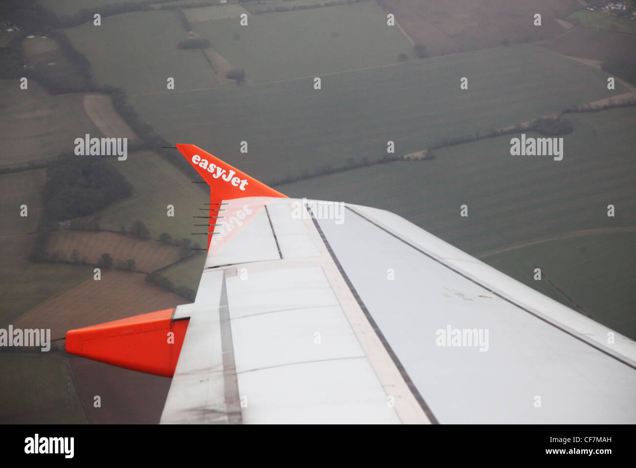Easyjet aeroplane airplane wing view from inside - Stock Image