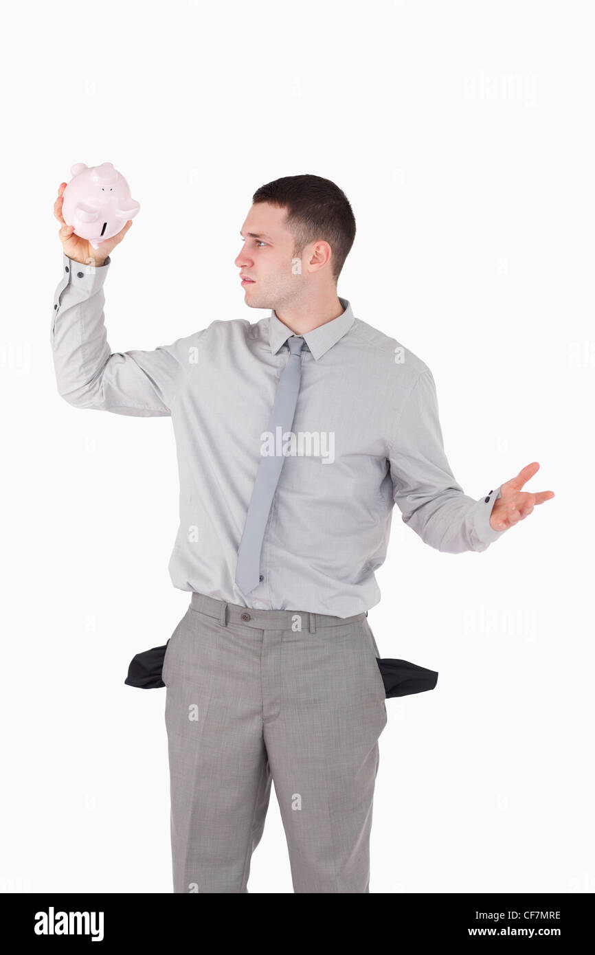 Portrait of a broke businessman - Stock Image