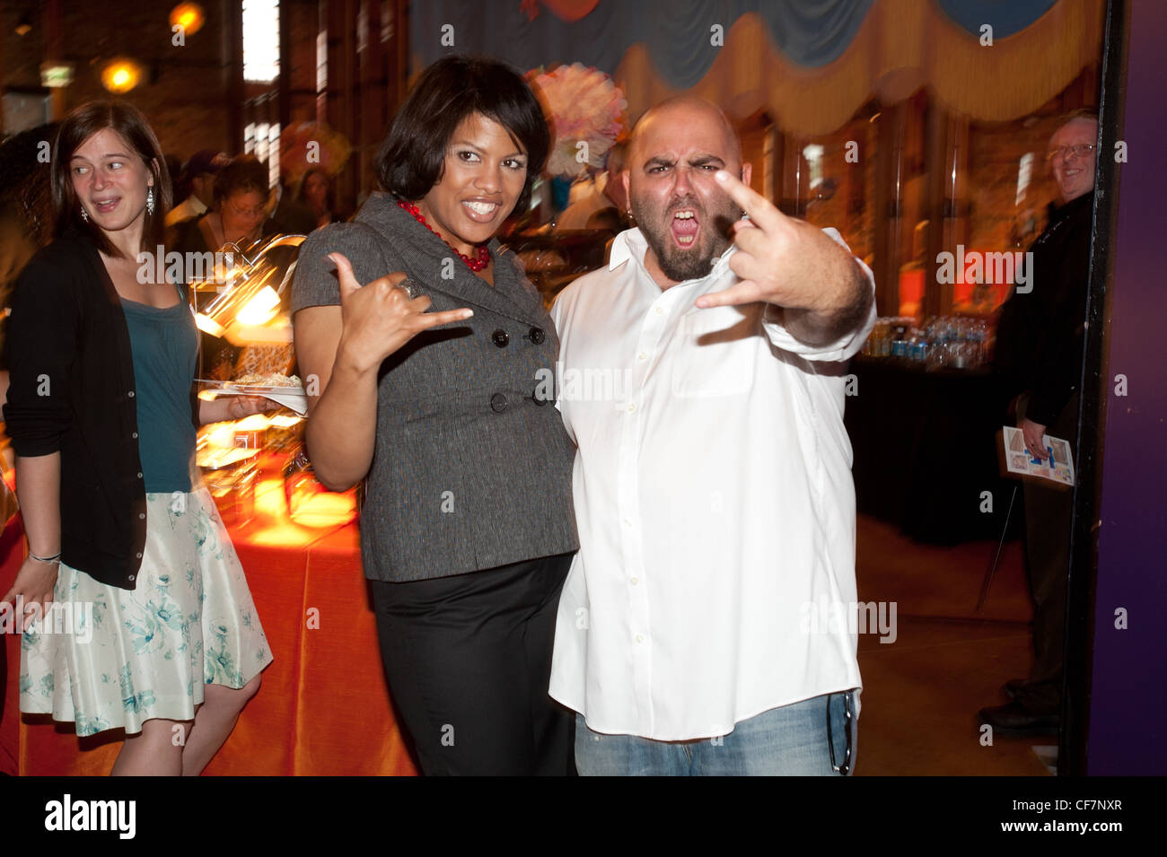 Ace of Cakes Duff Goldman, Mayor of Baltimore Stephanie Rawlings-Blake at AVAM for USCM 2011 - Stock Image