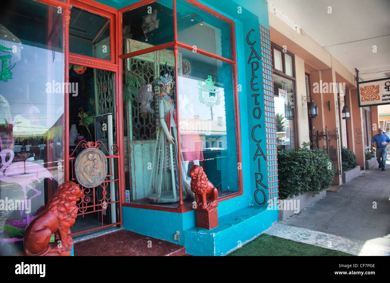 Shops along Kalk Bay Pavement in Cape Town - Stock Image