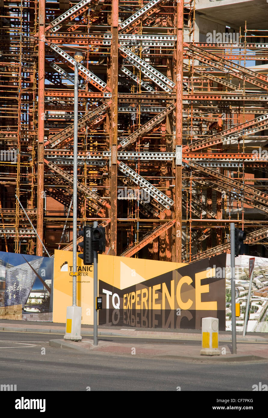 Steelwork during construction of buildings in the 'Titanic Quarter', Queens Road, Belfast. - Stock Image