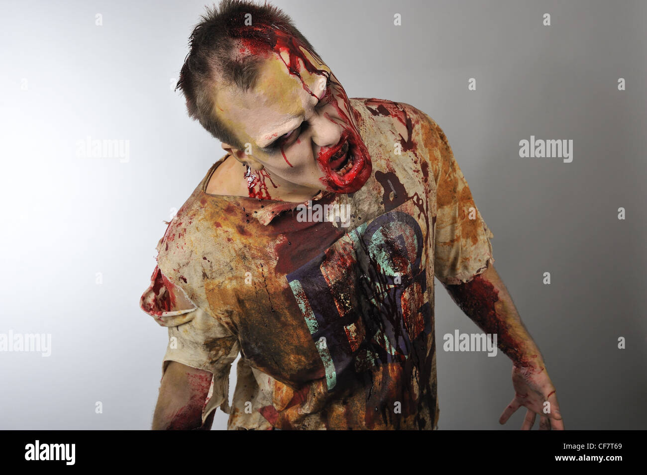 A zombie roaring at you - Stock Image