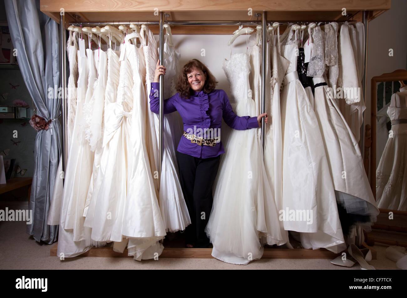 Wedding dress designer Stephanie Allin at her shop in Mumbles Stock ...