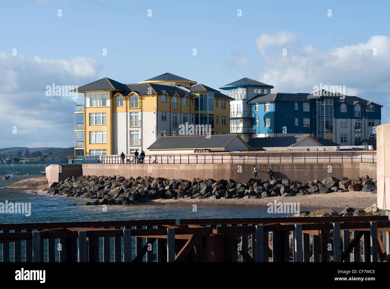 Exmouth Beach Architecture, art, blue, build, business, city, concept, construction, design, devon, estate, exterior, - Stock Image