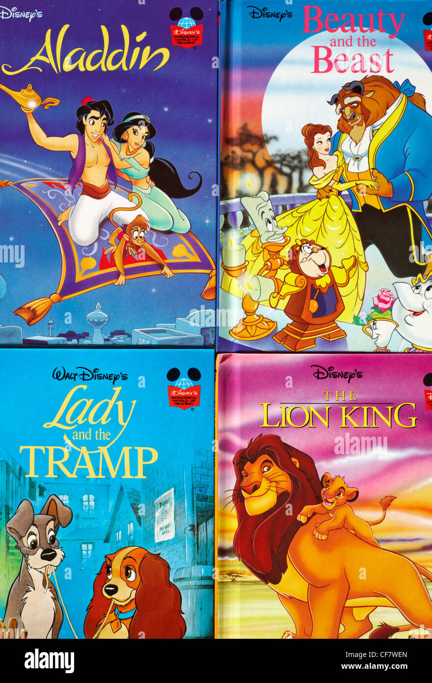 four Walt Disney's books - Aladdin, Beauty and the beast, Lady and the Tramp and the Lion King - Stock Image