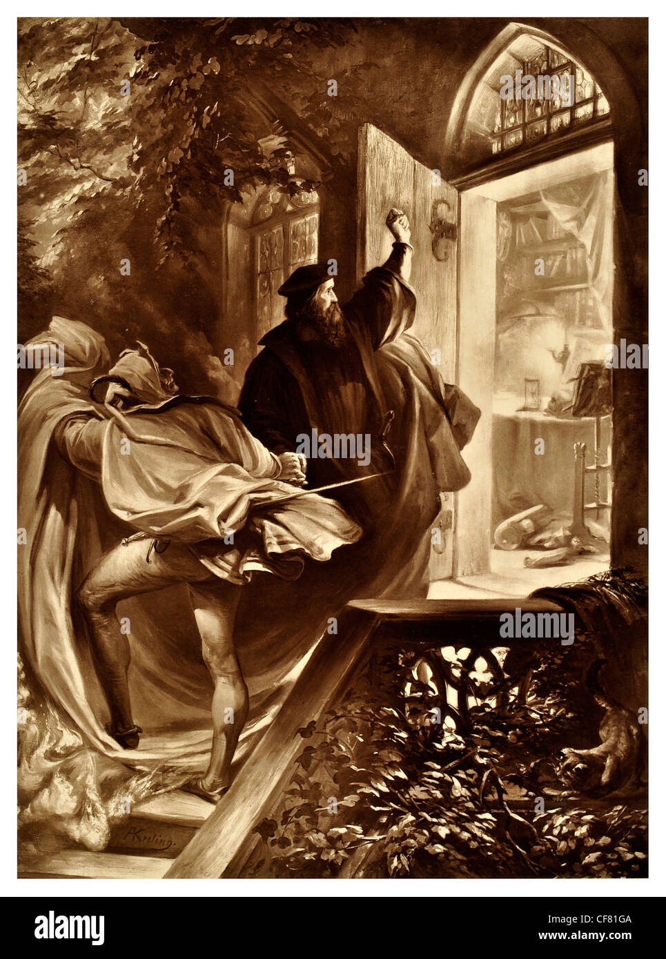 Faust  Johann Wolfgang von Goethe A tragedy 1870 period costume magical magic tale legend myth story drama theatre - Stock Image