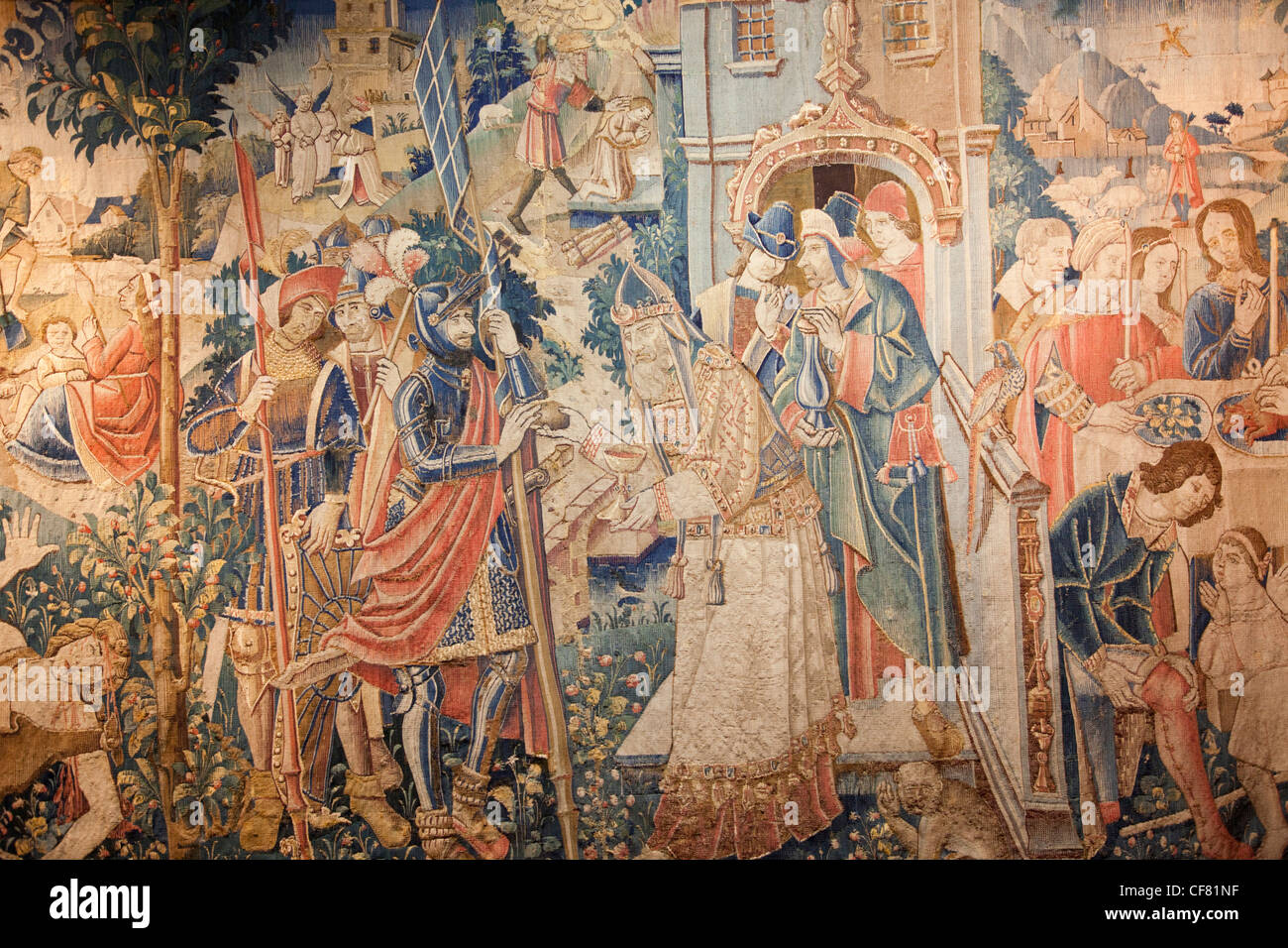 Europe, France, Loire Valley, Loire, Langeais Castle, Chateau de Langeais, Chateau, Castle, Castles, Tapestry, Tapestries, - Stock Image