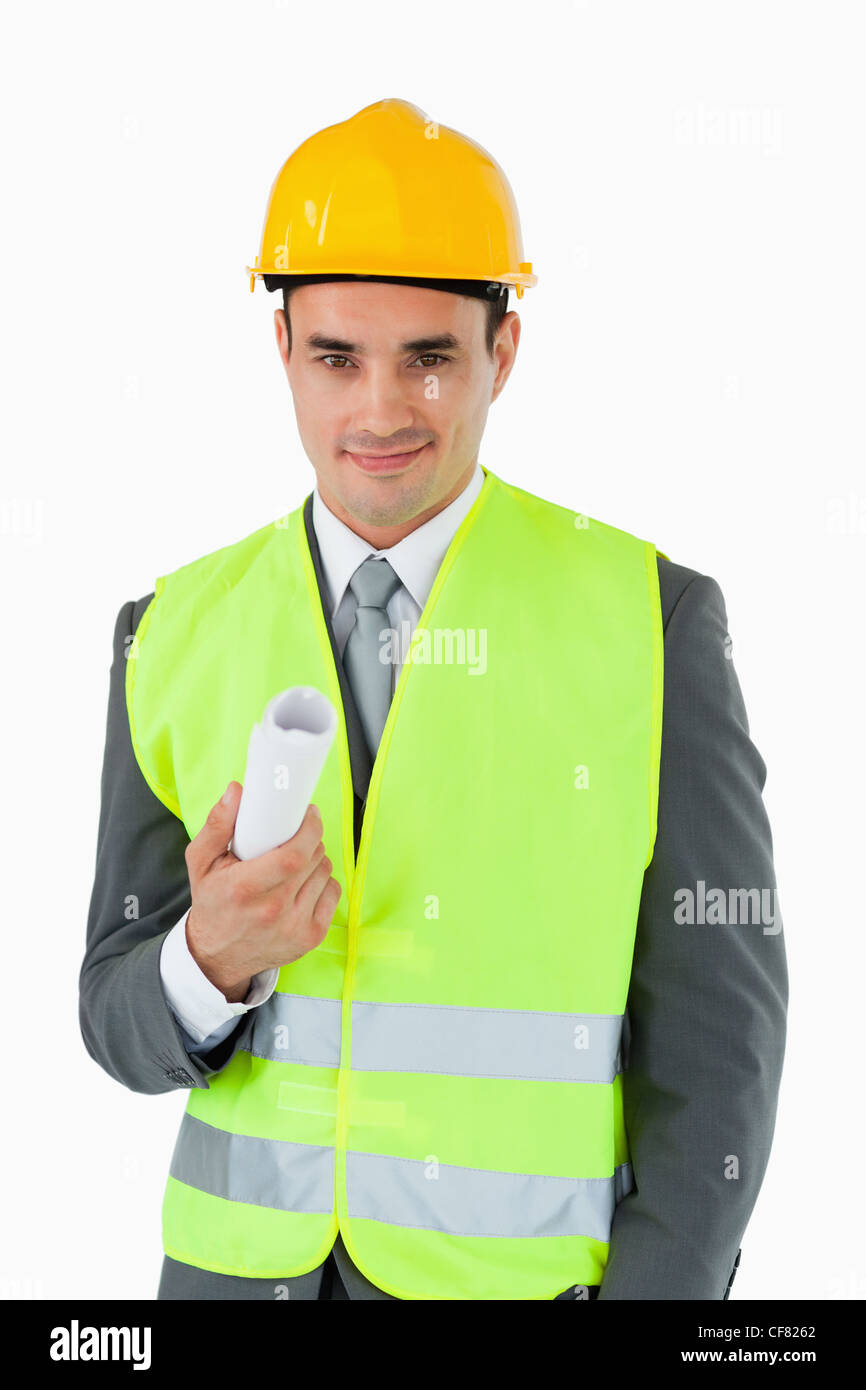 Architect with construction plan - Stock Image