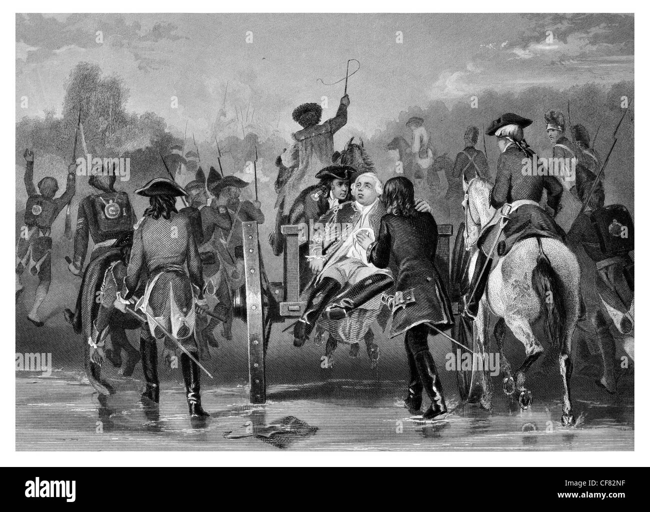 Defeat of British General Edward Braddock  Fort Duquesne  French  Indian War 1755 - Stock Image