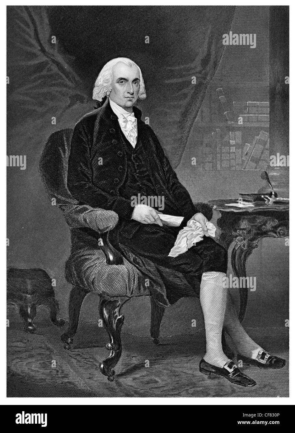 James Madison 1751 1836 Fourth president of the United States 1809  Democratic Republican and Secretary of State - Stock Image