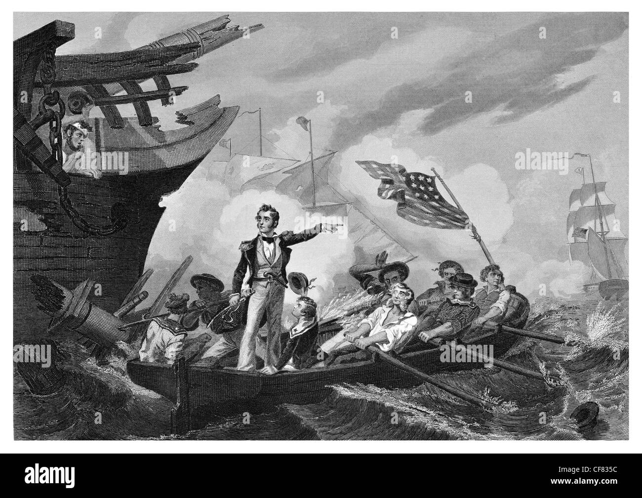 Battle of Lake Erie Oliver Hazard Perry transferring from Lawrence to Niagara 1813 - Stock Image