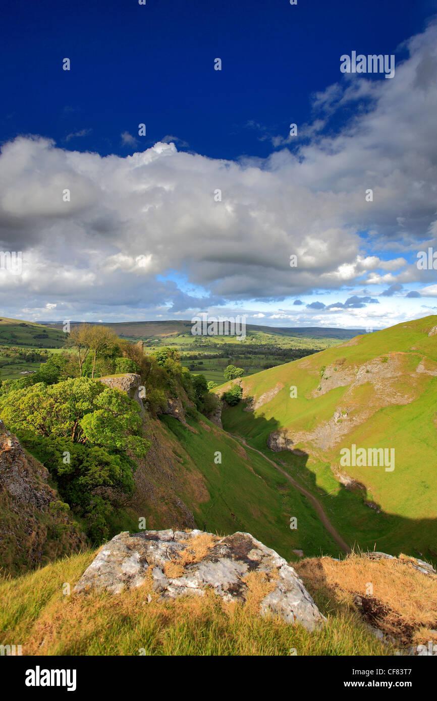 Summer Cave Dale Peveril Castle, Castleton village, Hope Valley, Peak District National Park, Derbyshire, England, - Stock Image