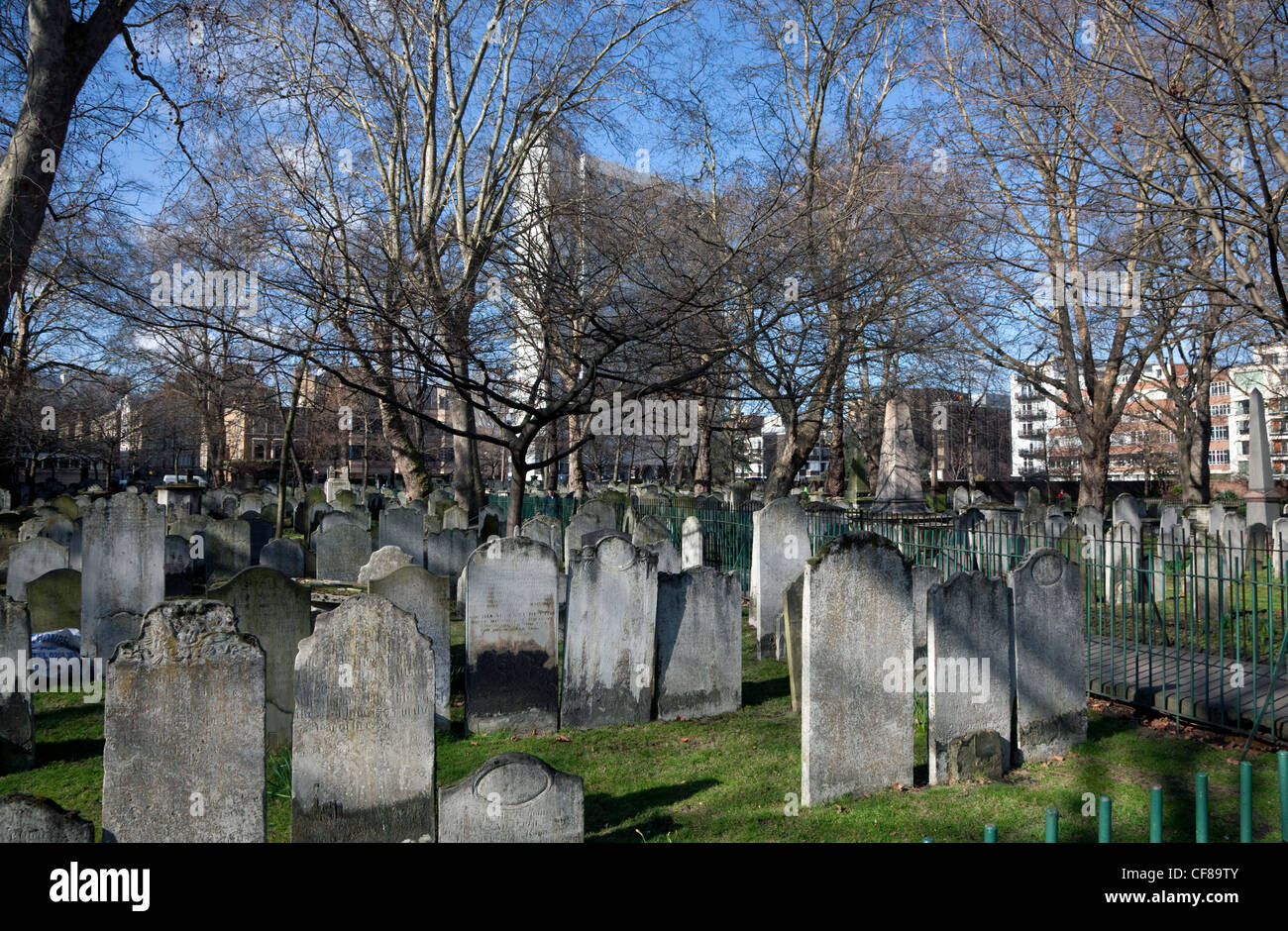 Bunhill Fields cemetery, London - Stock Image