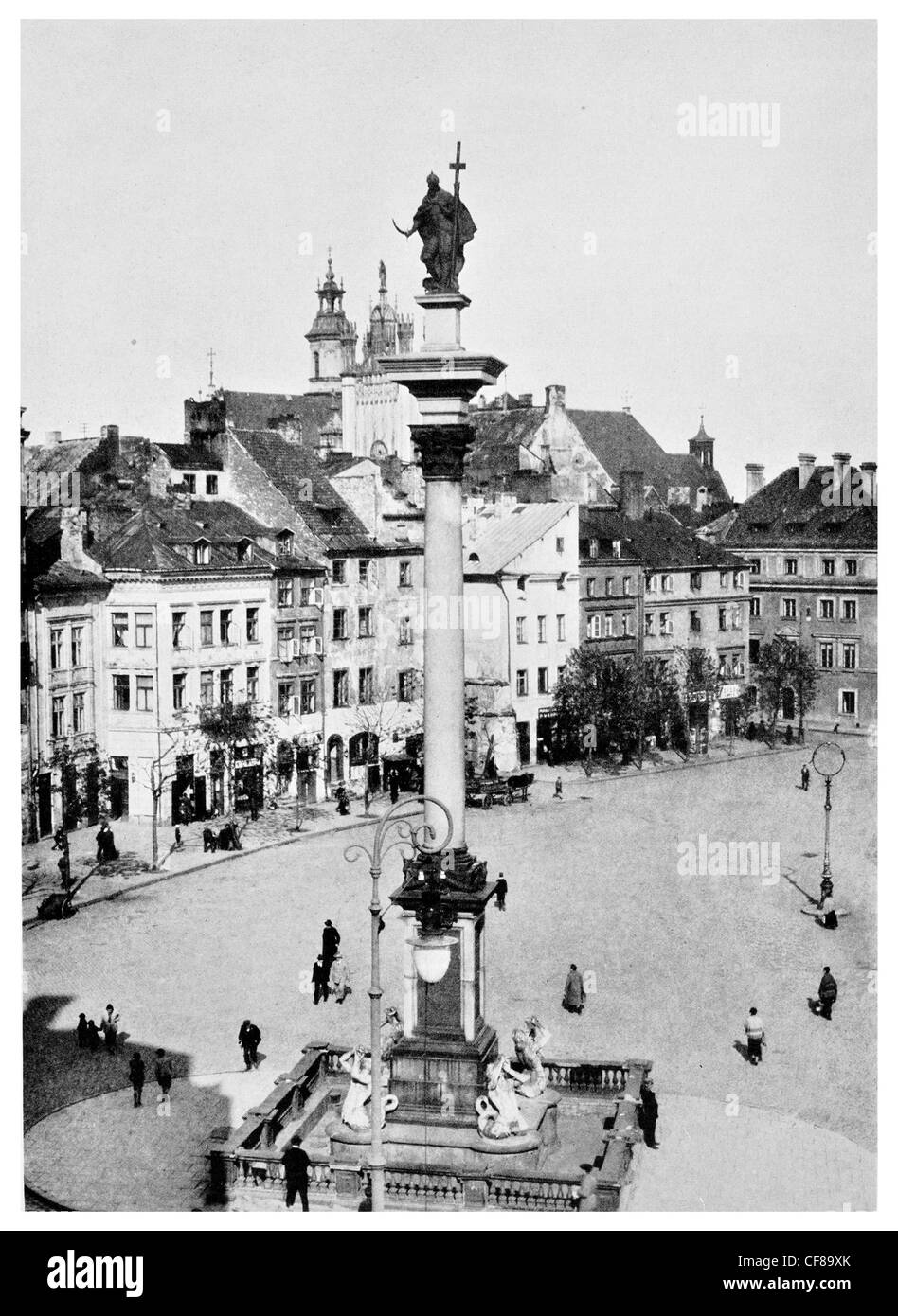 1926 The Royal Palace in the Old town of Warsaw, Poland. Palace square Warsaw King of Poland  monument - Stock Image