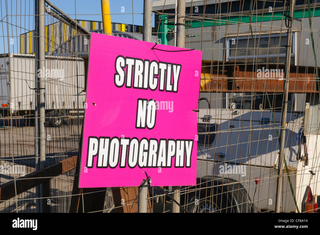 'Strictly no photography' sign at the Game of Thrones film set at the Titanic Studios, Belfast - Stock Image