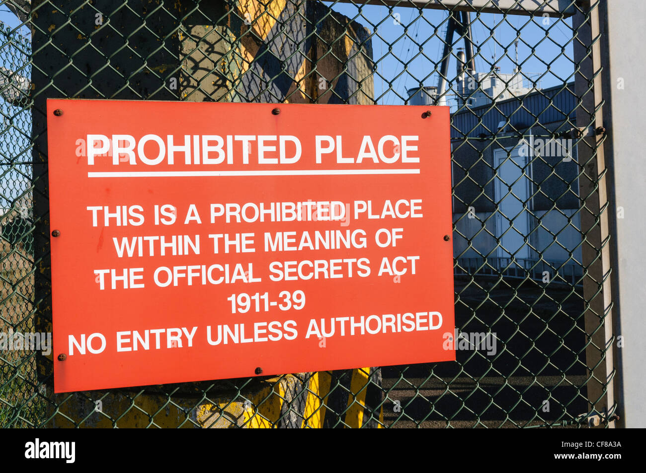 Prohibited place sign at a highly secure military location - Stock Image