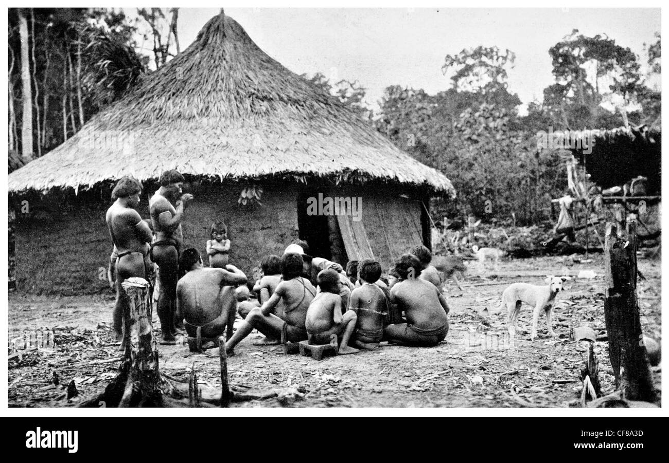1926 Communal Hut in Parima Venezuela - Stock Image