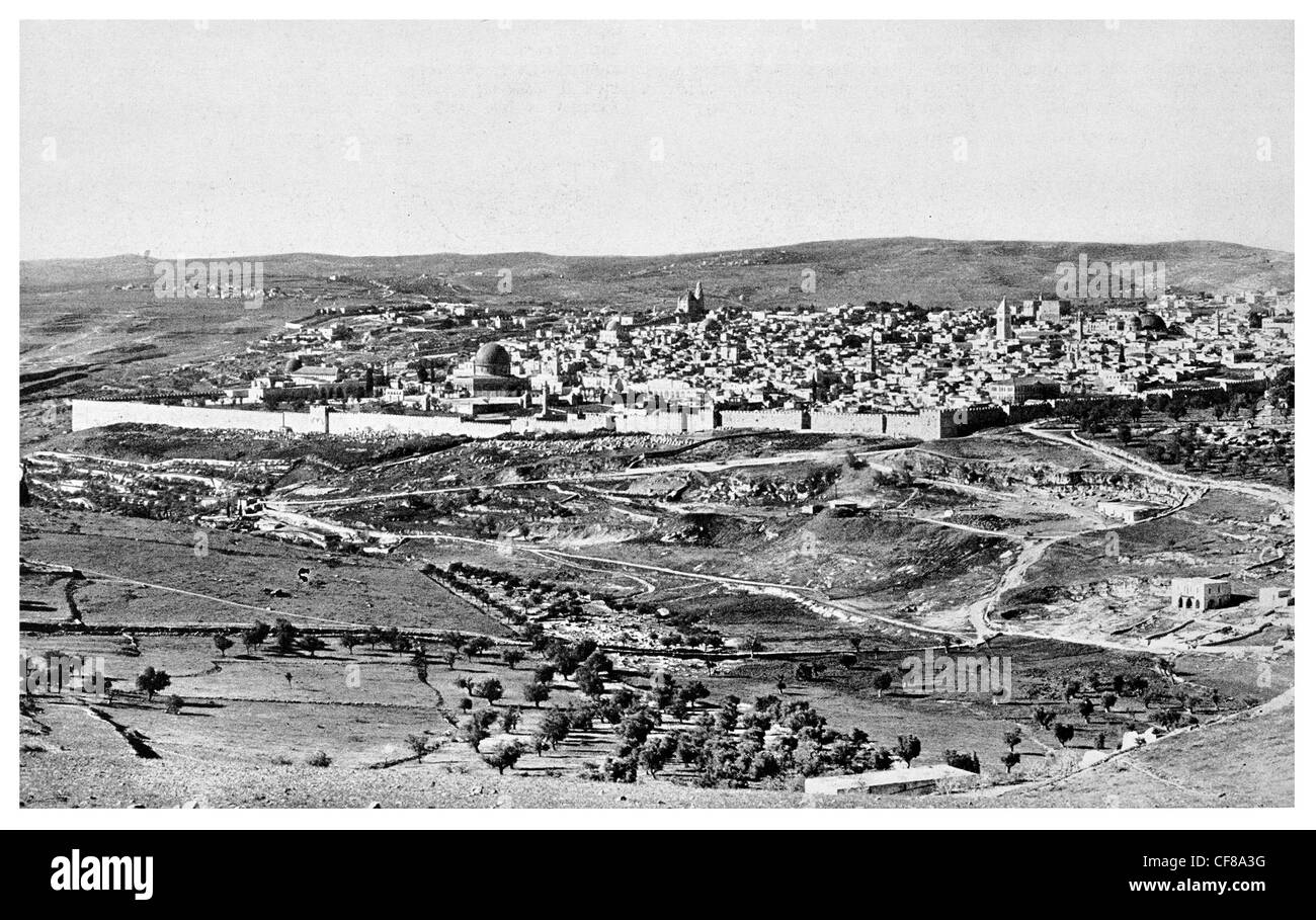 1926 Jerusalem Holy City capital Israel distant view of city walls - Stock Image
