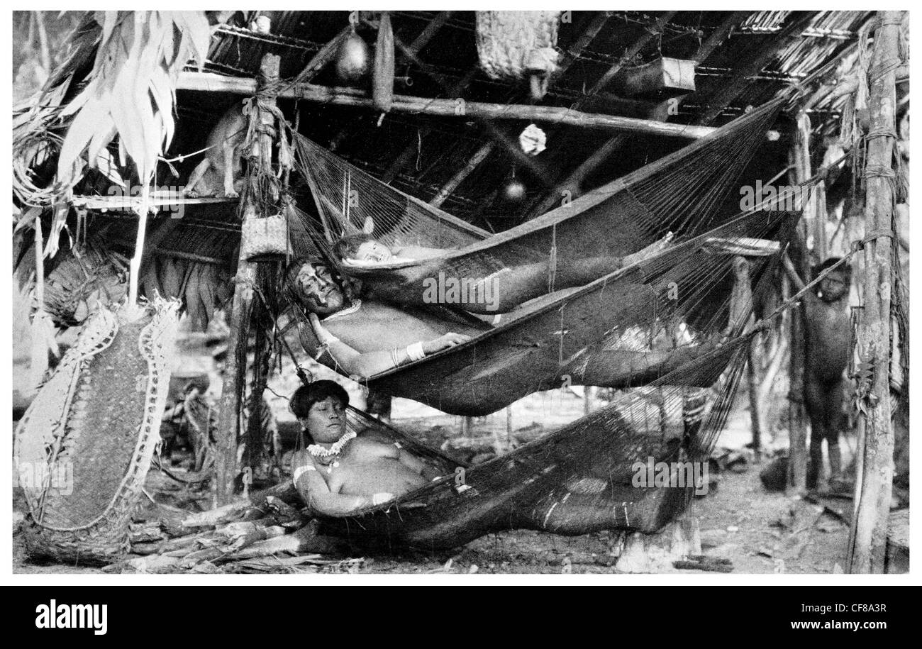 1926 Amazon Valley Hammock Waiwai Wai Wai - Stock Image