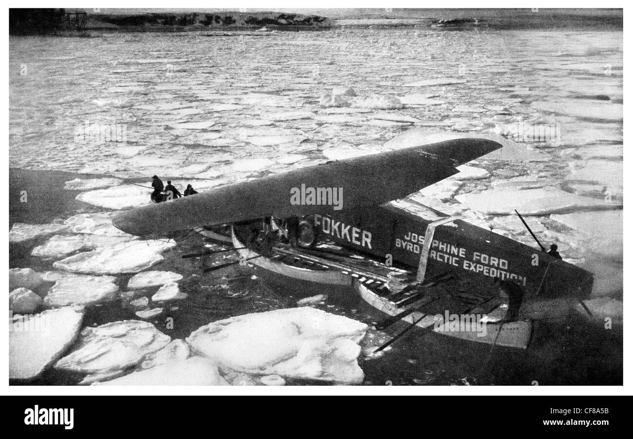 1926 Monoplane Byrd Plane Chantier Base ice flow - Stock Image