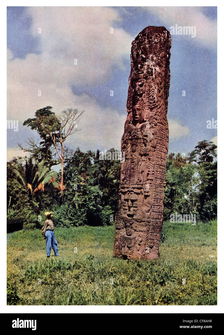 1926 Monument carved stela near Quirigua Maya civilization Central America - Stock Image