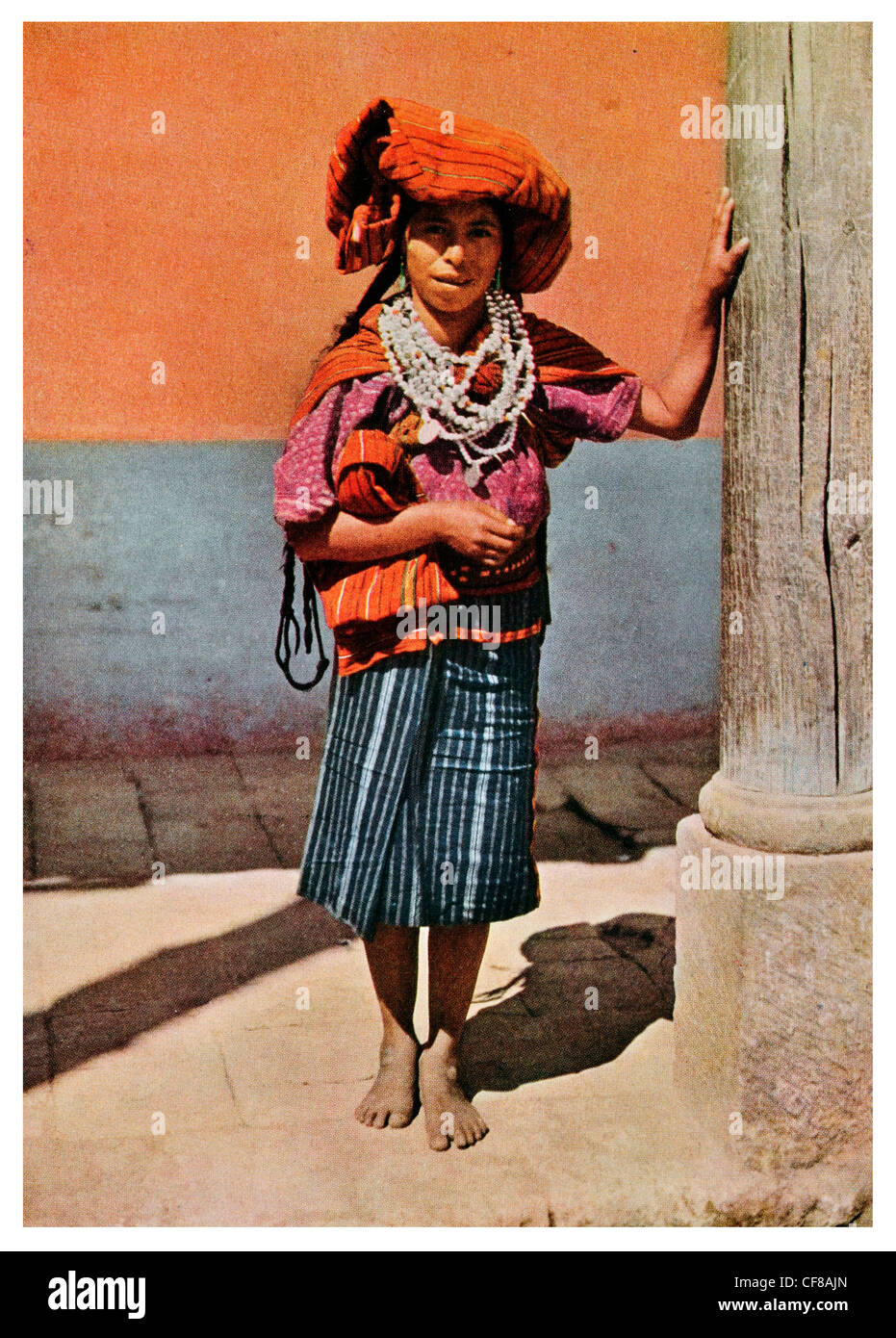 1926 Woman of Quiches tribe whippoorwill one of ten districts  province Sihuas Peru Stock Photo