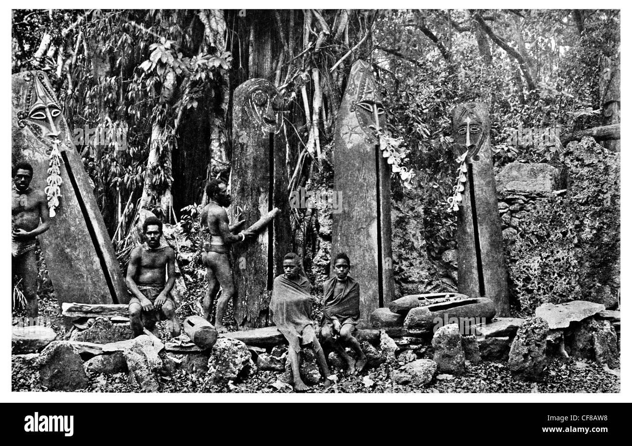 1927 Ceremonial Drums New Hebrides archipelago South Pacific Vanuatu - Stock Image