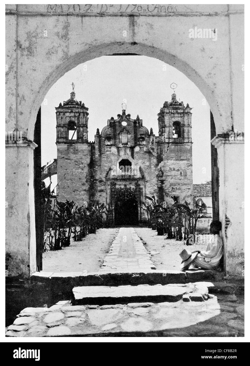 1927 Mexican Village ancient church Oaxaca hamlet Mexico - Stock Image