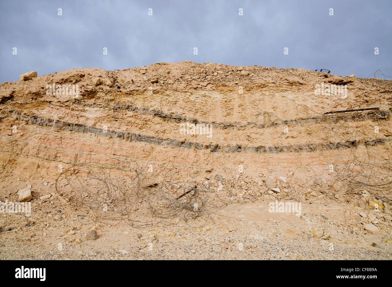 Israel, Arava, Sediment layers on the Graet Rift Valley Stock Photo