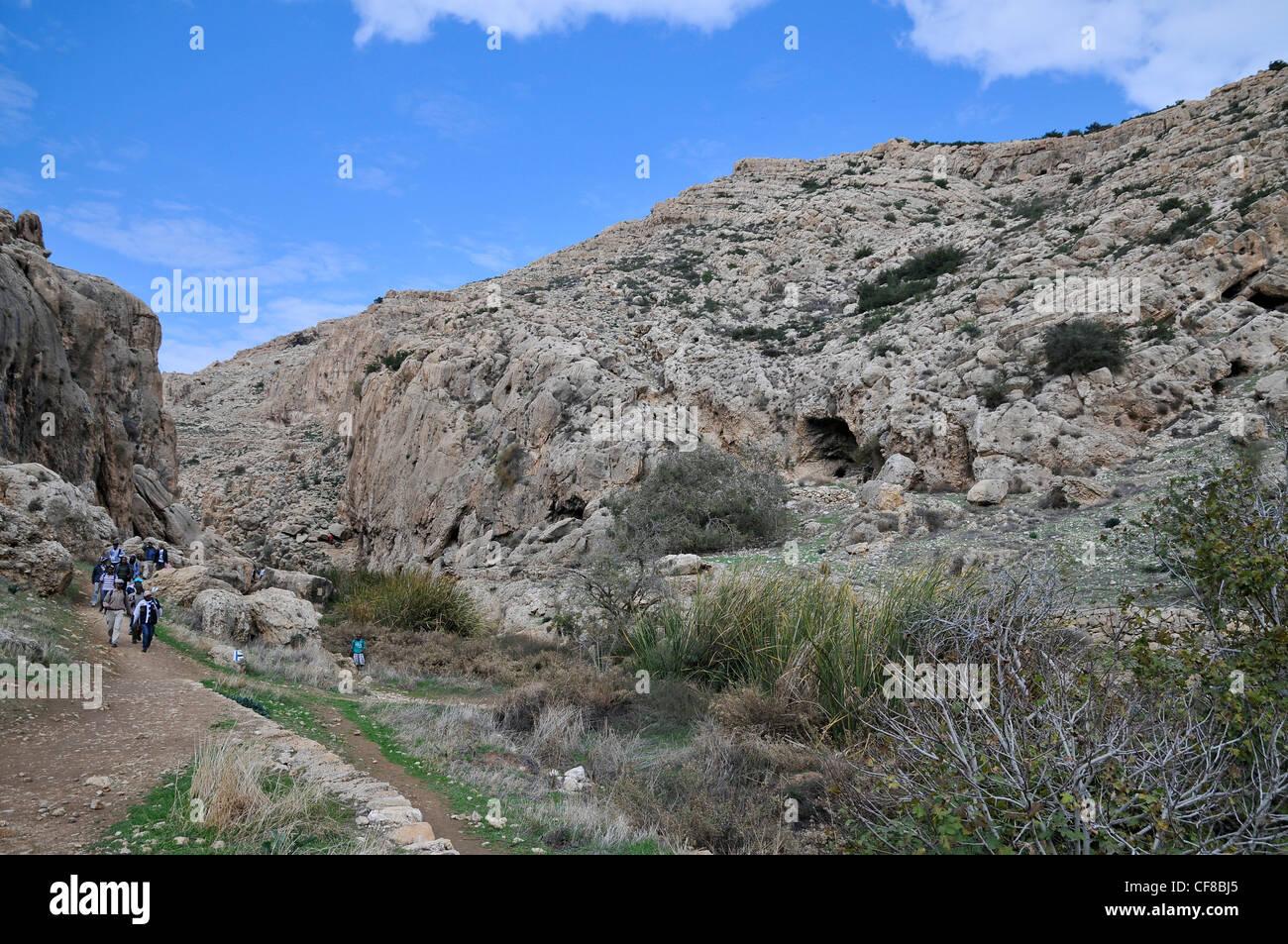 Israel, Jordan Valley, Wadi Qelt (Wadi Perat) offroad hiking - Stock Image