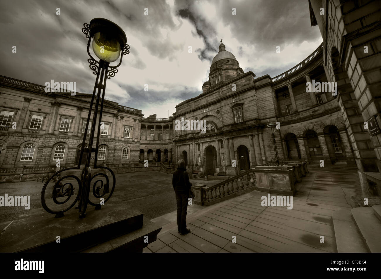 Edinburgh University stone buildings and Talbot Rice Gallery at South College Street and South Bridge, Scotland - Stock Image