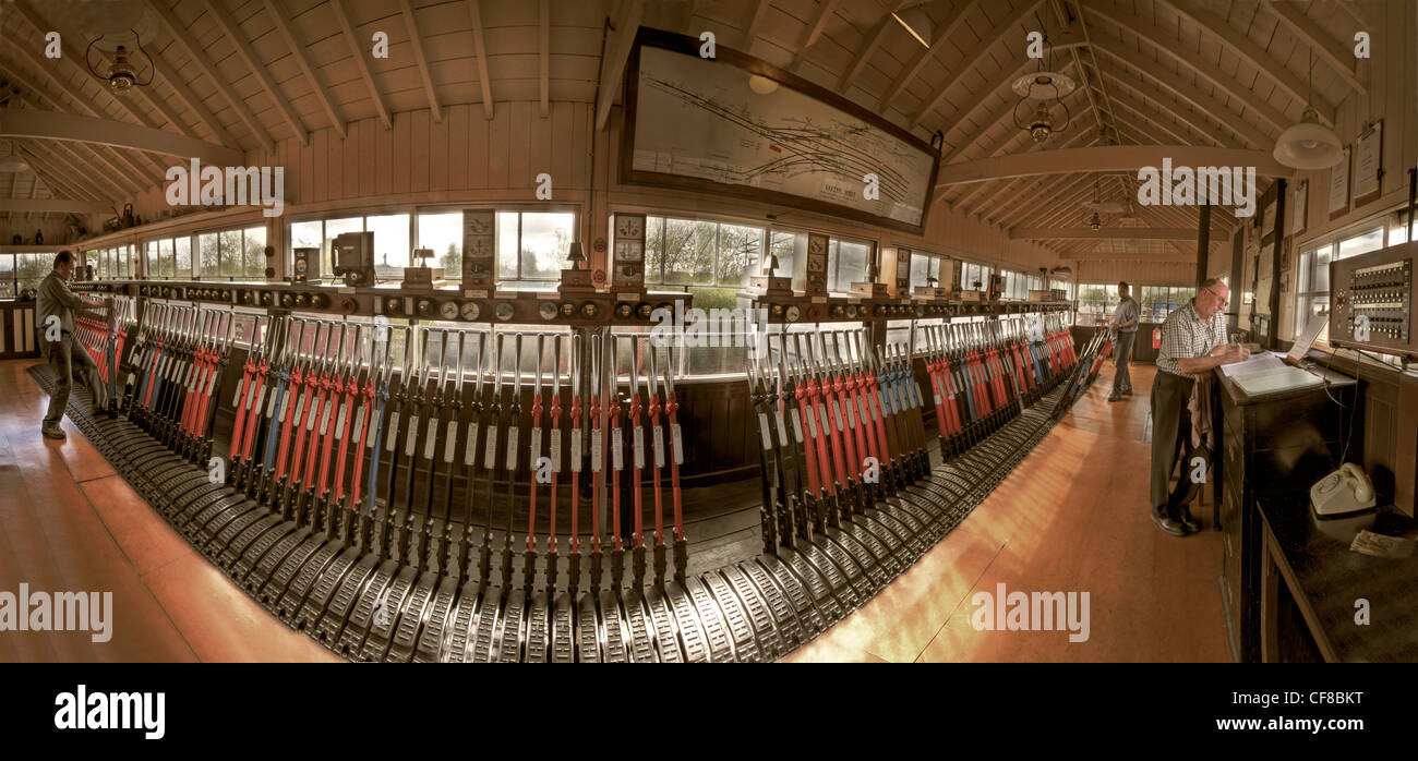 Interior of the Exeter West signal box, moved to Crewe heritage centre in Cheshire, formally the Railway Age - Stock Image
