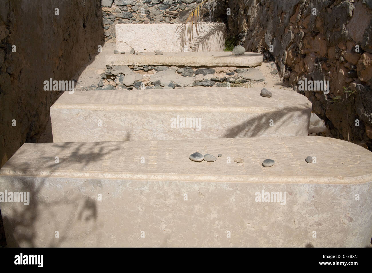 Sal Rei Boa Vista Cape Verde Tombs Ben Oliel Family in small Jewish cemetery stones left as mark of respect by Jewish - Stock Image