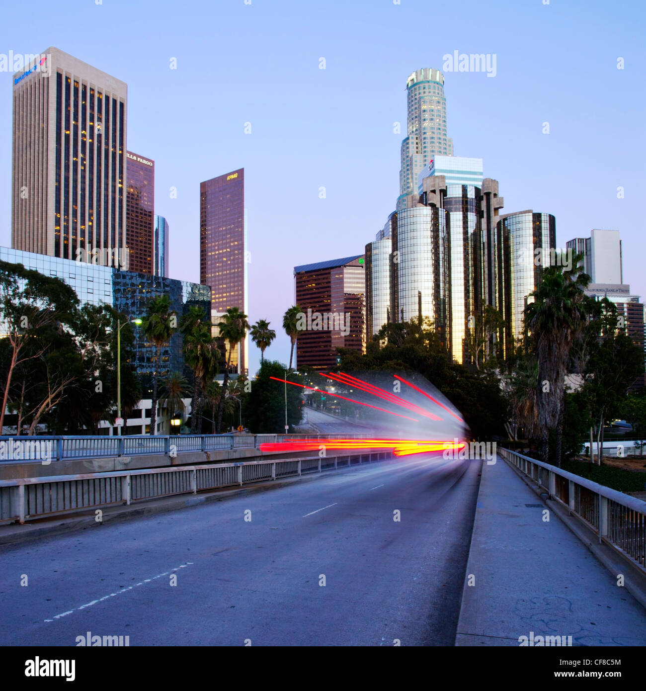 The 110 Harbour Freeway and Downtown Los Angeles skyline, California, United States of America - Stock Image