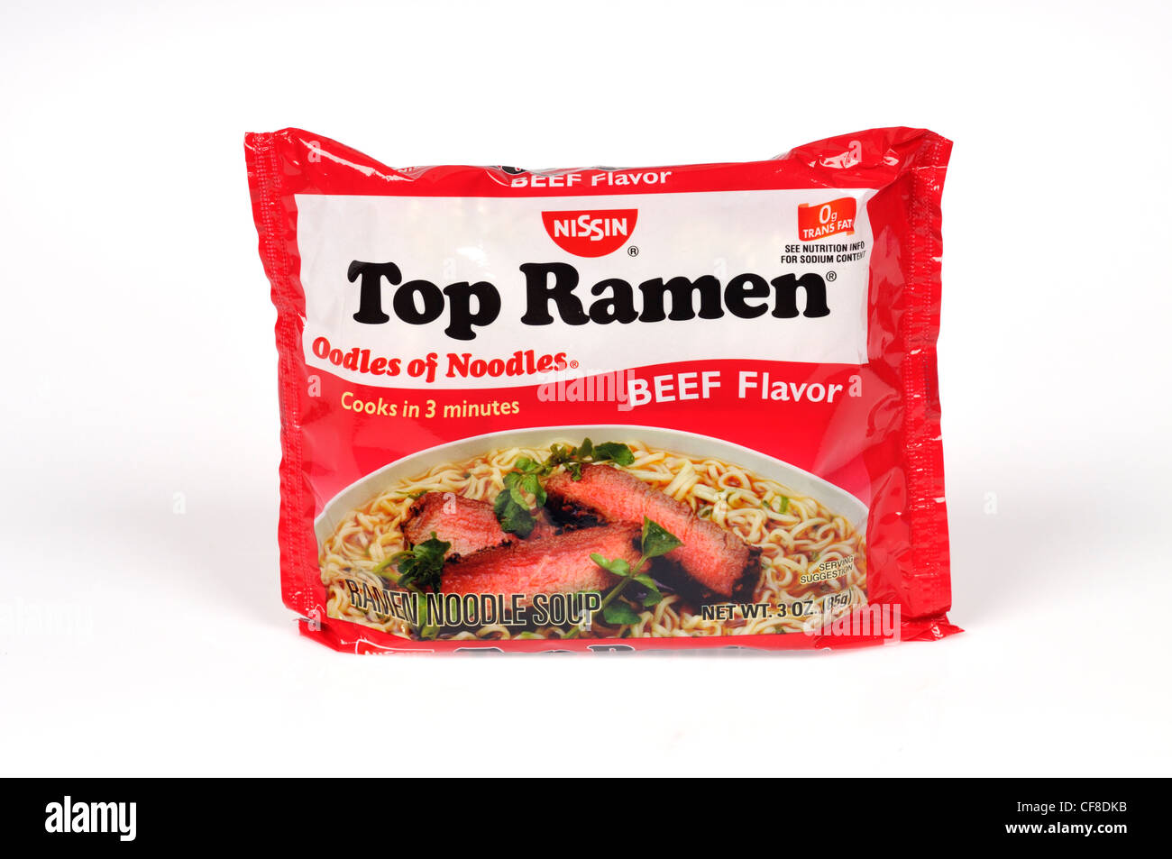 Package of instant top ramen noodles soup oodles of noodles beef flavor by Nissin on white background cut out. - Stock Image