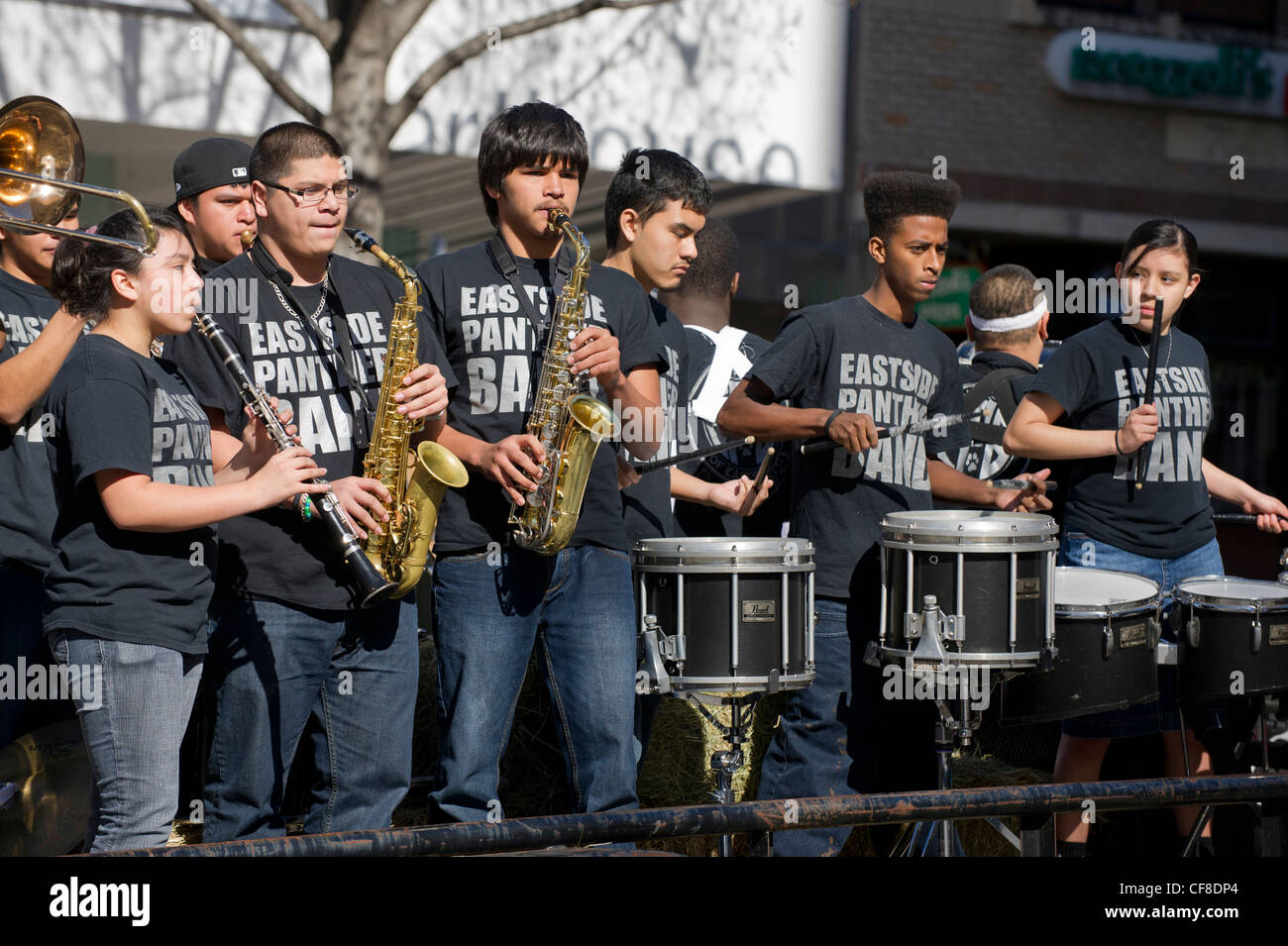 The multi-ethnic Eastside Memorial High school band plays as Texas Independence Day on March 2nd in Austin Texas - Stock Image