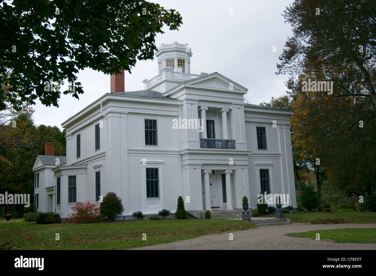 The White House Inn, Greek Revival House on the National Register of Historic Places, Belfast, Maine. - Stock Image