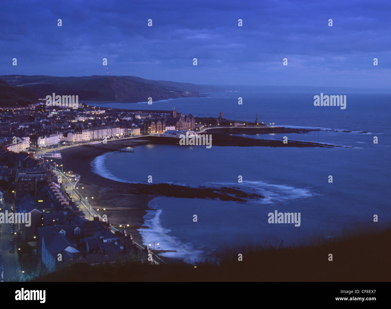View of Aberystwyth from Constitution Hill at twilight Ceredigion Mid Wales UK - Stock Image
