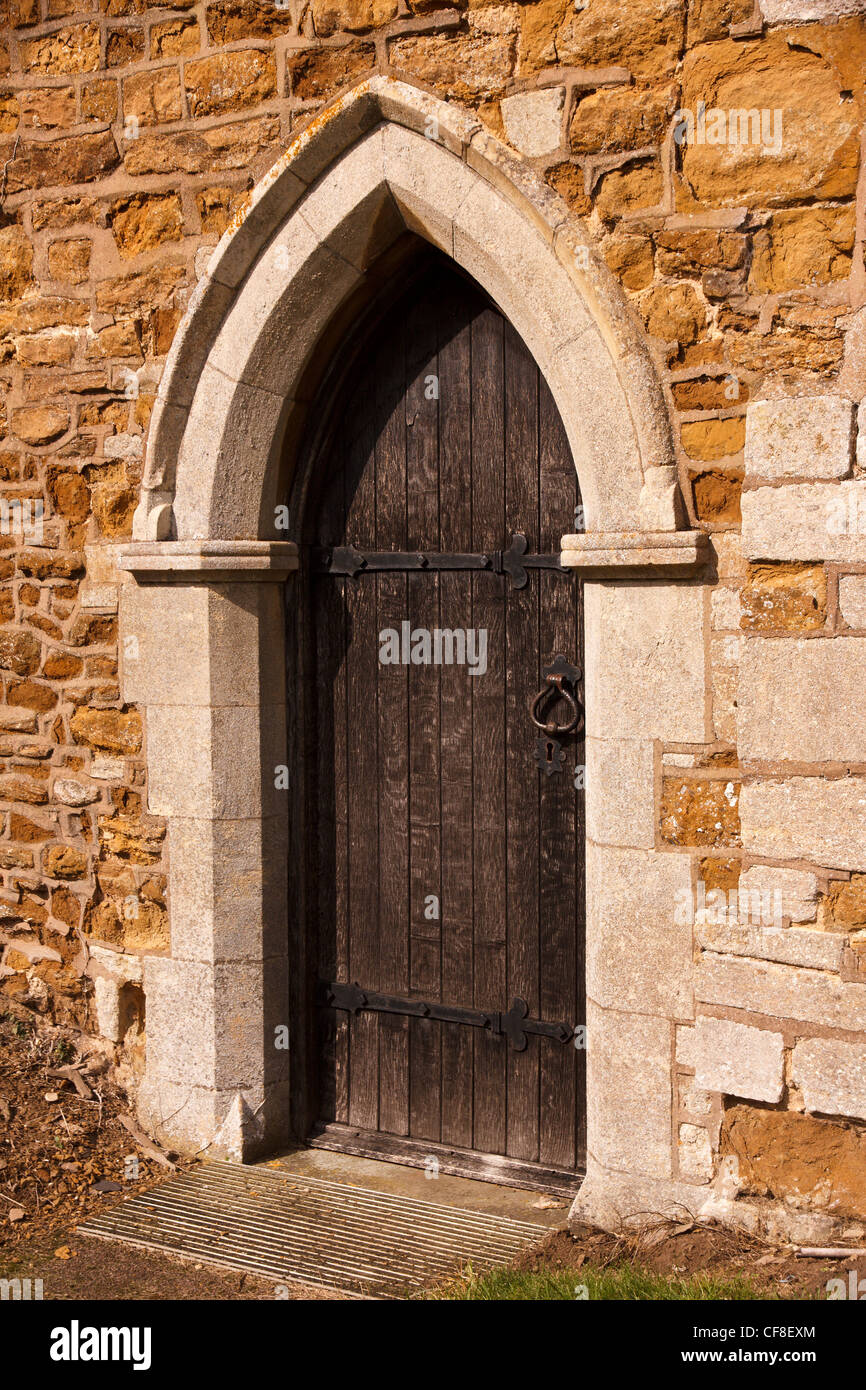 Old Stone Pointed Gothic Arch Doorway With Wooden Door St