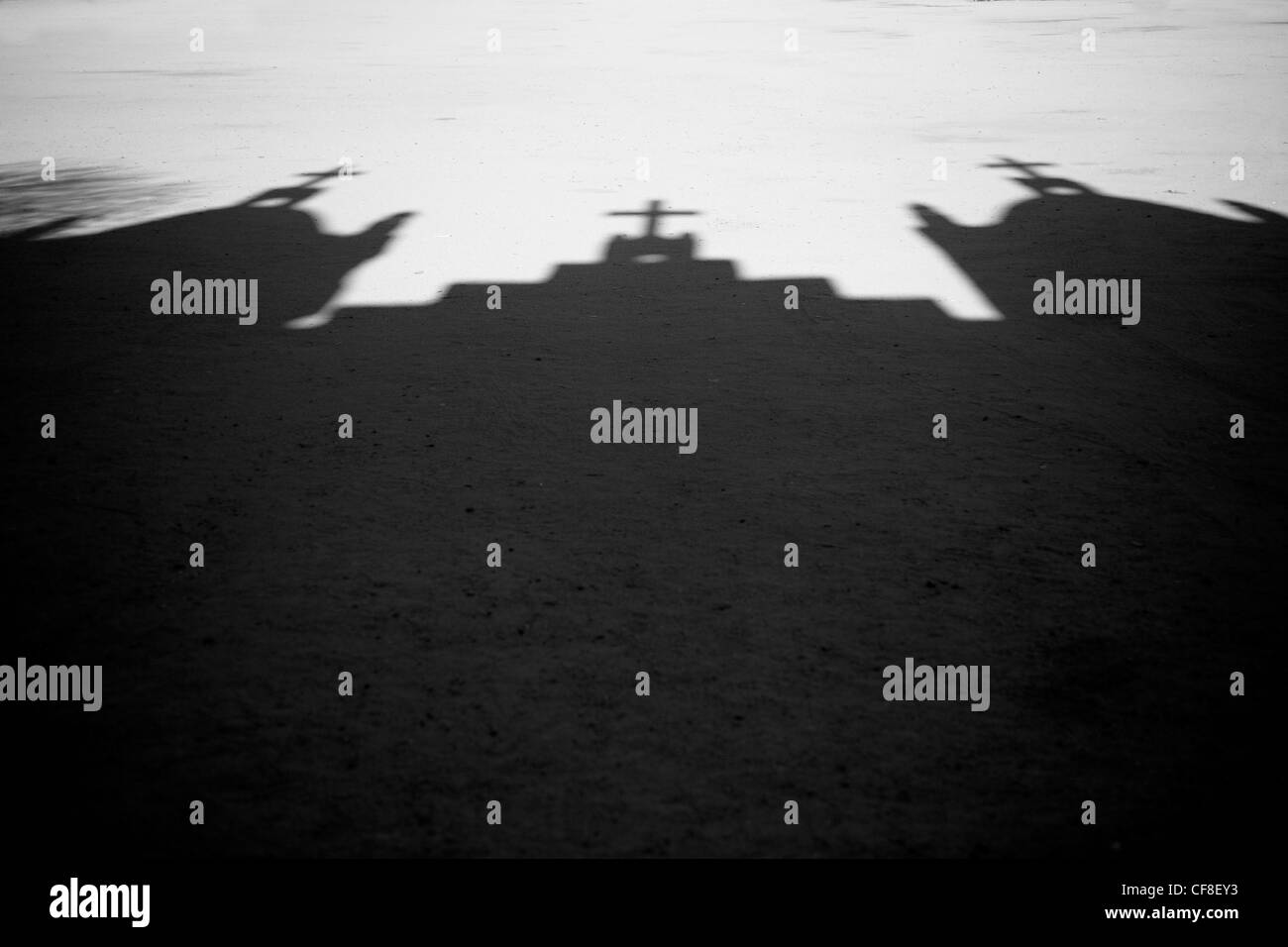 Shadow of Church with Crosses - Stock Image