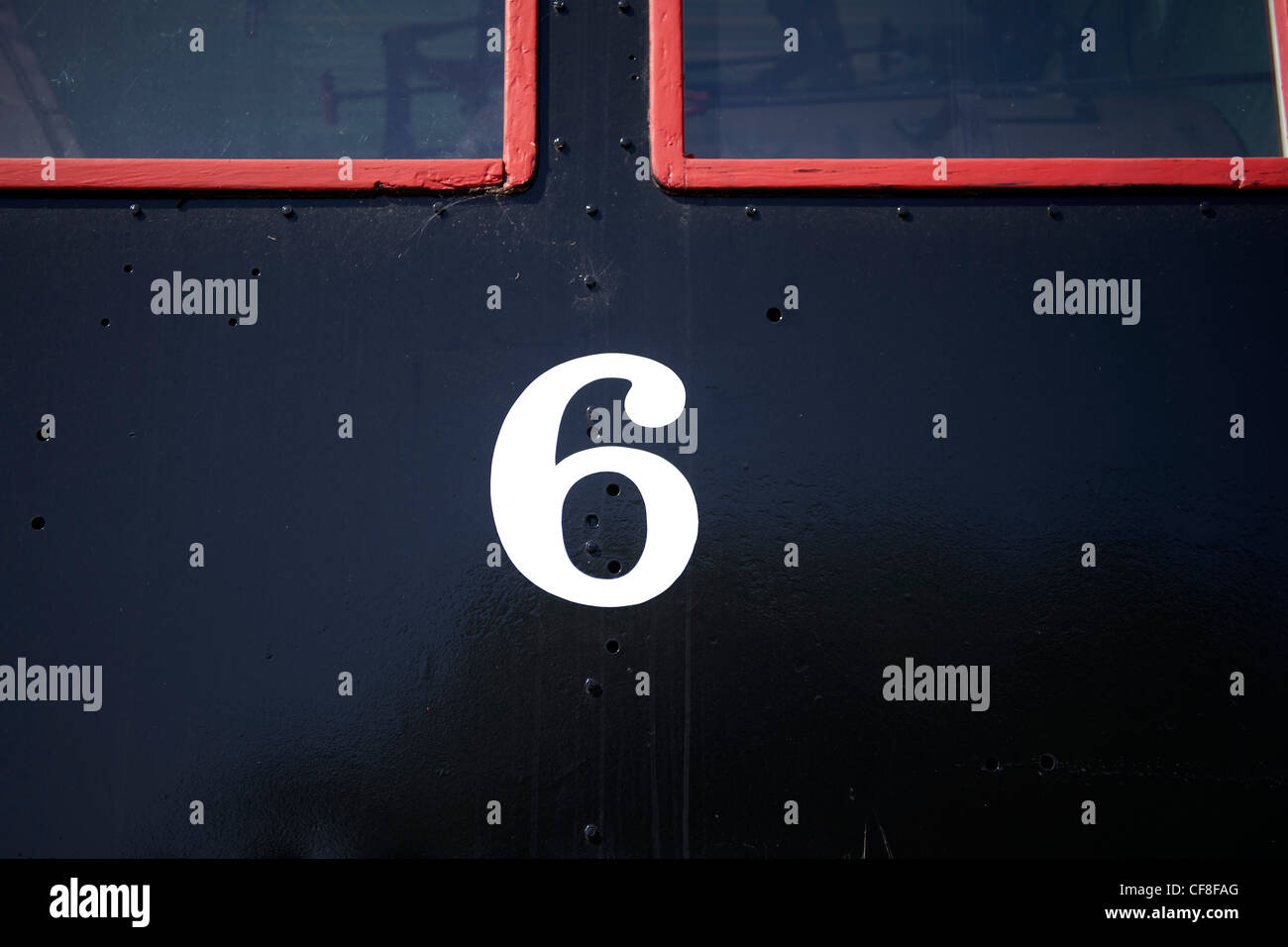 photograph of the numeral six - Stock Image
