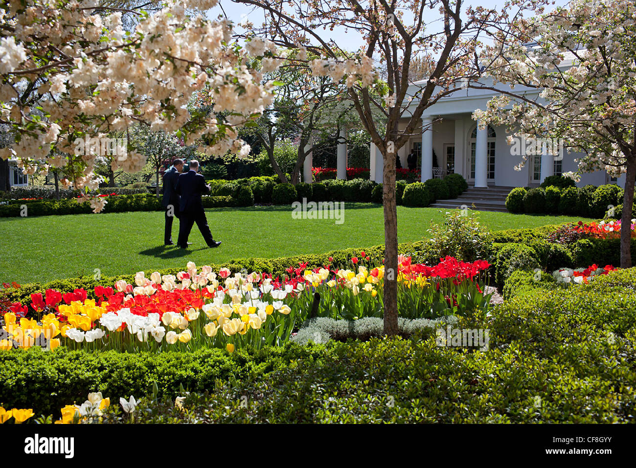 President Barack Obama walks through the Rose Garden in full spring bloom at the White House with National Security - Stock Image