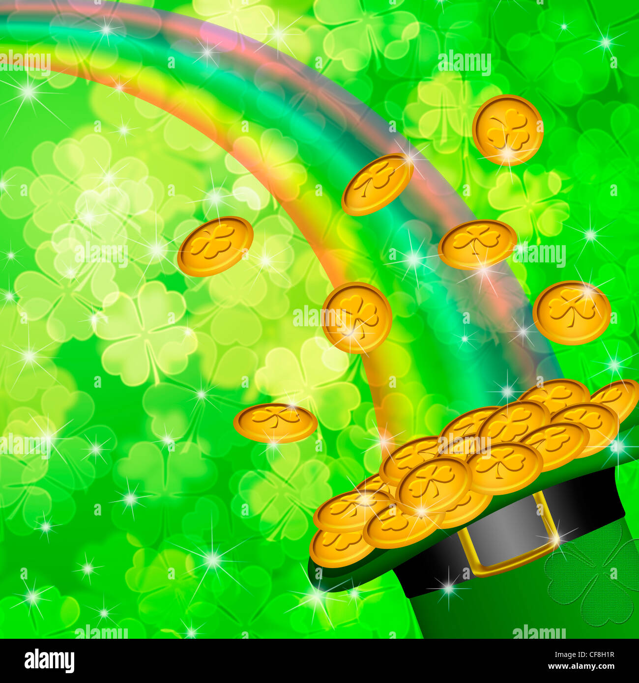 Pot Of Gold And Rainbow Over Lucky Irish Shamrock Four