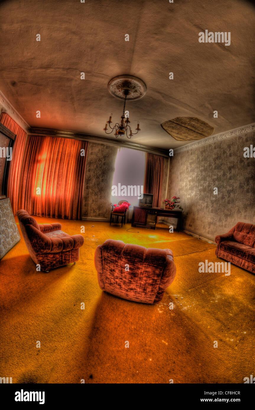 Interior of disused hotel near East German border - Stock Image