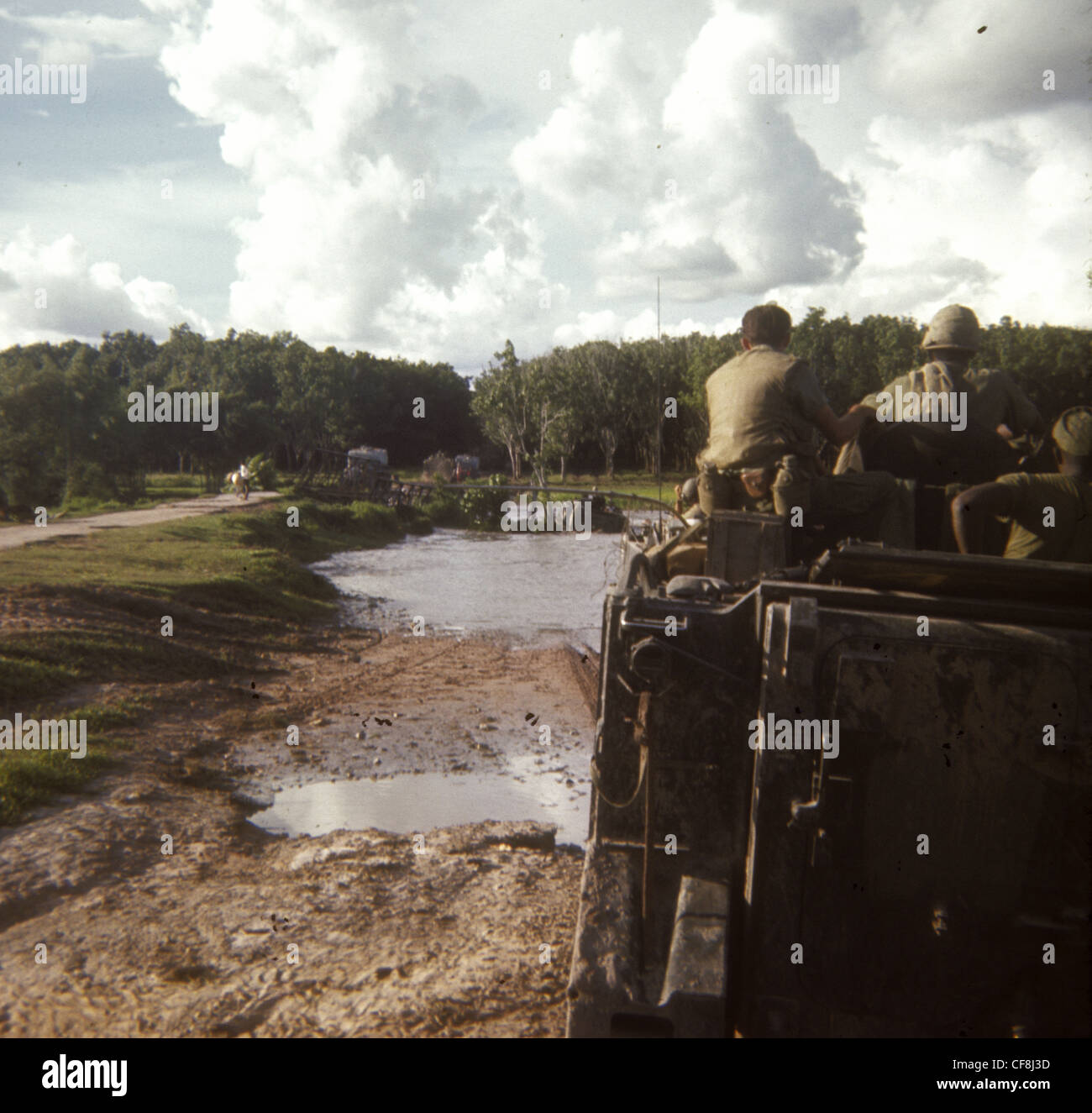 soldiers on APC on search and destroy mission 1/5th (Mechanized) Infantry CU CHI VIETNAM War 1966 M113 armored personnel - Stock Image