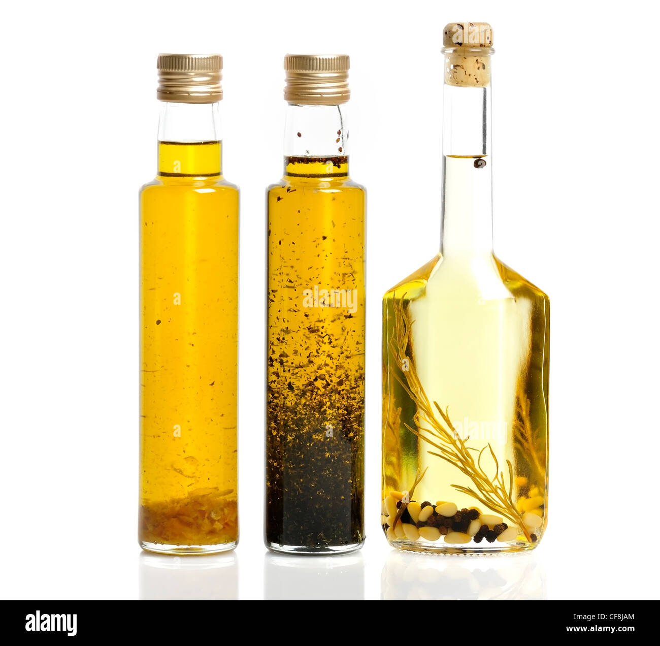 Cooking Oil Bottles On White Background - Stock Image