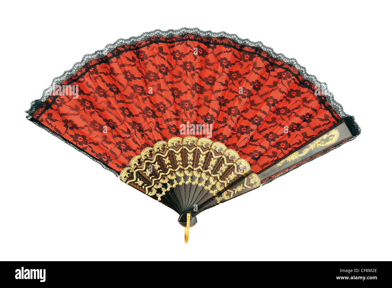 a fan to cool in the hot summer of spain. - Stock Image