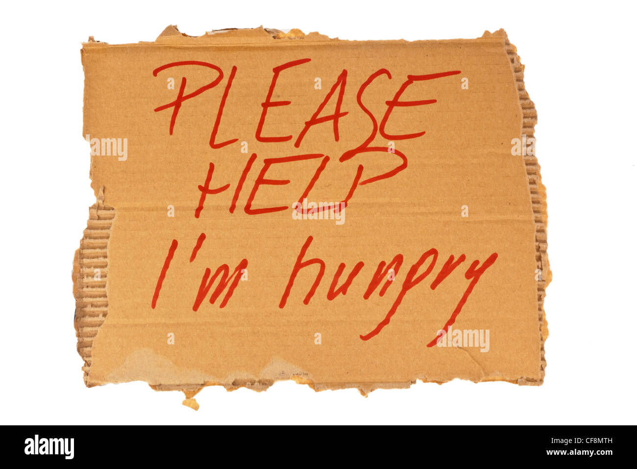 the cardboard sign of a homeless person. isolated on white background - Stock Image